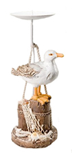 Seagull on Pilings Candle Holder