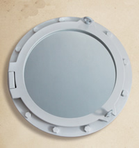 White Wooden Porthole Mirror