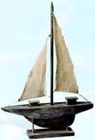 Antique Finish Sailboat Model on Stand