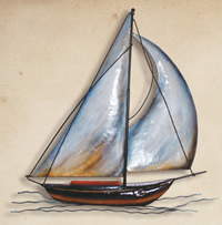 Wall Hanging Metal Sailboat