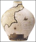 Porcelain Nautical Map Vase