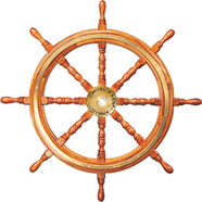 Solid Brass & Wood Ship Wheel