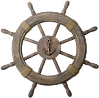 Antique Finish Wooden Ship Wheel