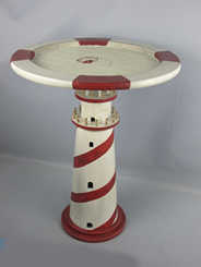 Distressed Red & White Lighthouse Table