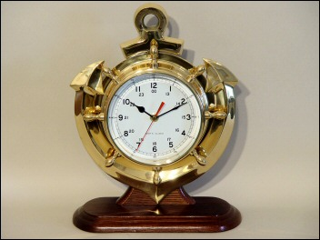 Brass Anchor  & Ship Wheel Clock w/ Base