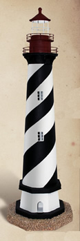Decorative Black & White Cape Hatteras Tin Lighthouse Candle Holder