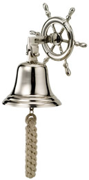 Nickel Plated Brass Ship Wheel Bell