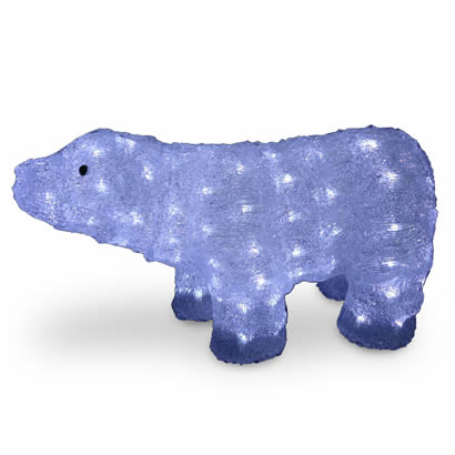 11 In. Acrylic Bear Christmas Decoration with 100 LED Lights
