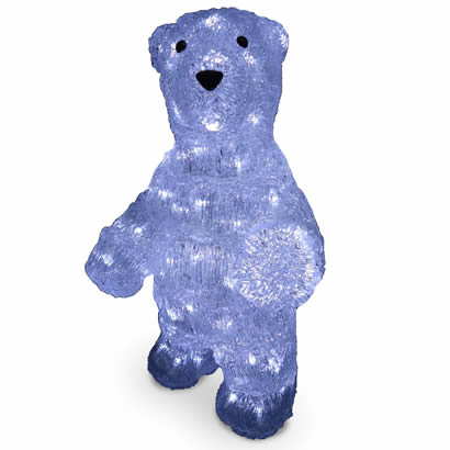 19 In. Acrylic Standing Bear Christmas Decoration with 100 LED Lights