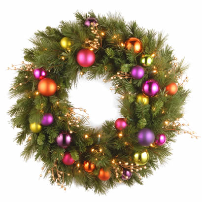 30 In. Kaleidoscope Christmas Wreath with 70 Soft White LED Lights