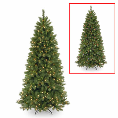 7 1/2 Ft. Pine Slim Christmas Tree w/ 450 Dual LEDs & Footswitch
