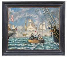 Adm. Perry the Battle of Lake Erie Oil on Canvas Painting