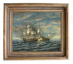 Battle Between USS Constitution & HMS Guerriere Oil on Canvas Painting