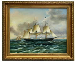 Baltimore Clipper Ship Oil on Canvas Painting