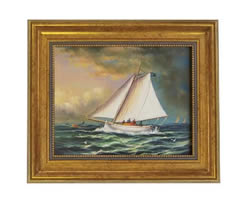 Racing Boat Oil on Canvas Painting