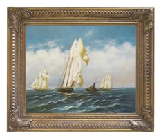 America Rounding the Mark 1886 by Jacobsen Oil on Canvas Painting