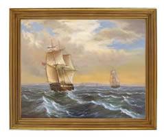 Marine View by Birch C1825 Oil on Canvas Painting