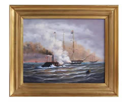 CSS Merrimack & USS Congress Oil on Canvas Painting