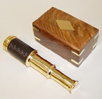 Brass/Leather-Sheathed Telescope w/ Wood Display Box