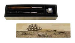 Whaling Scene Scrimshaw Writing Box