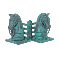 Cast Iron Verdigris Horsehead Bookends