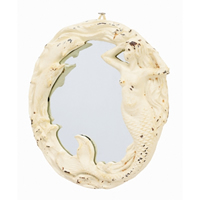 Cast Iron Antique White Mermaid Mirror