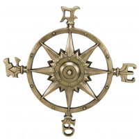 Large Aluminum Compass Rose w/ Antique Brass Finish
