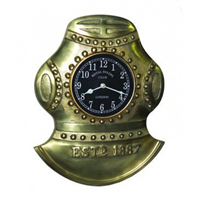 Antique Brass Diver's Helmet Wall Clock
