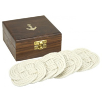 Set of Four Knot Coasters w/ Wood Anchor Box