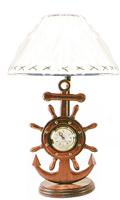 Ship Wheel & Anchor Lamp/Clock