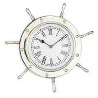 Nickel Ship Wheel Wall Clock