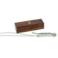 Nickel Bosun's Whistle w/ Hardwood Case