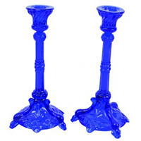 Pair of Two Blue Glass Candle Holders