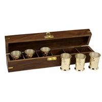 Set of Six Brass Shot Glasses w/ Wood Box