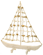 Wooden Sailboat w/ Shell Sail