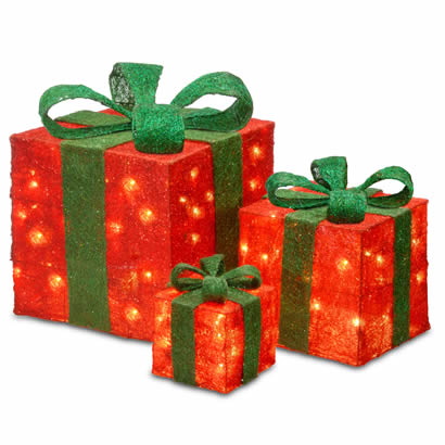 Assorted Red Sisal Christmas Gift Boxes w/ 20, 20 and 35 Clear Lights