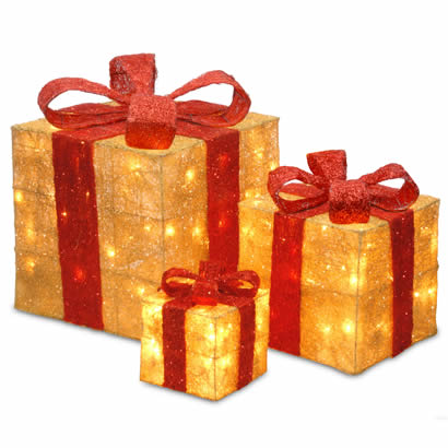 Assorted Gold Sisal Christmas Gift Boxes w/ 20, 20 & 35 Clear Lights