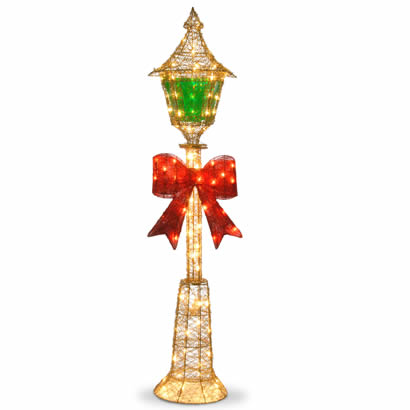 60 In. Gold Lamp Post w/ Red Bow & 85 Clear Indoor/Outdoor Lights