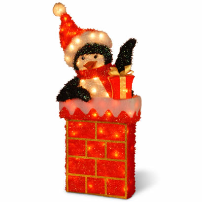 38 In. Penguin on Chimney Christmas Decor w/ 70 Clear Outdoor Lights