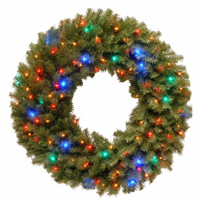 36 In. Norwood Fir Christmas Wreath w/ 100 Concave Multi 4-Color LEDs