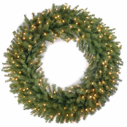 48 In. Norwood Fir Christmas Wreath with 200 Clear Lights-UL