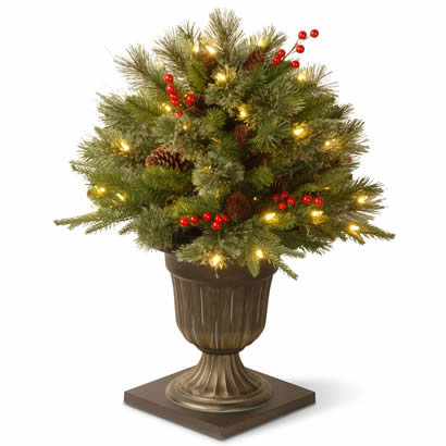 26 In. Feel Real Colonial Porch Christmas Bush w/ 50 Clear Lights