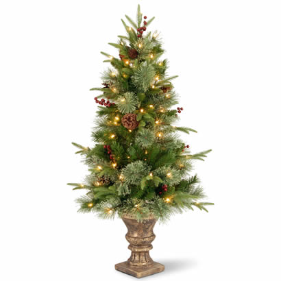 4 Ft. Colonial Entrance Christmas Tree w/ Cones and 100 Clear Lights