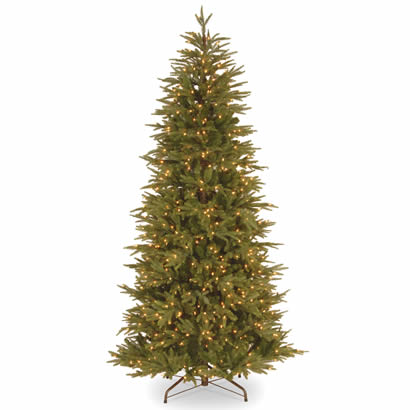 7 1/2 Ft. Fraser Fir Slim Christmas Tree w/ 800 Ready-Lit Clr Lights
