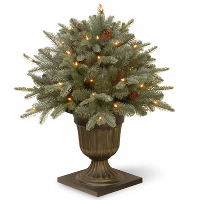 26 In. Feel Real Frosted Spruce Porch Christmas Bush w/ 50 Clr Lights