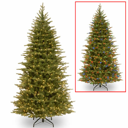 7 1/2 Ft. Feel Real Spruce Slim Christmas Tree w/ 600 Dual LEDs
