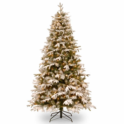 7 Ft. Feel-Real Snowy Everest Christmas Tree with 450 Clear Lights