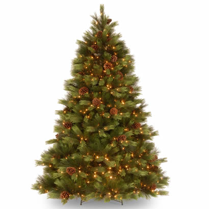 7 1/2 Ft. Feel-Real White Pine Christmas Tree with 550 Clear Lights