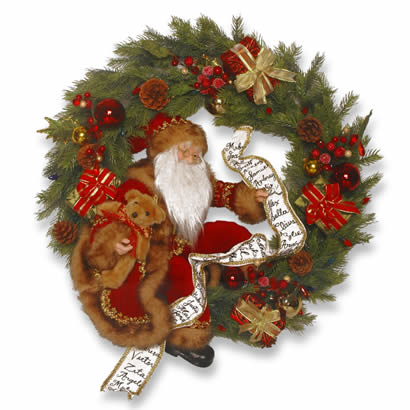 24 In. Christmas Wreath with Santa Decoration
