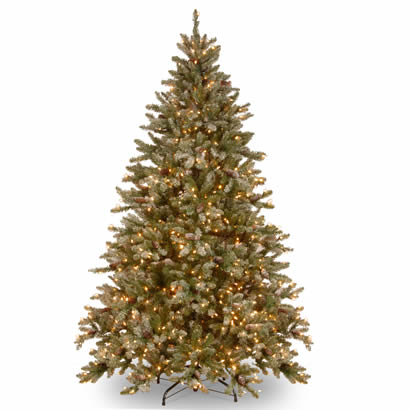 7 1/2 Ft. Snowy Concolor Fir Christmas Tree w/ Cones & 750 Clr Lights